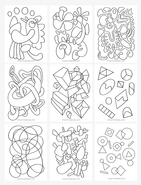 Abstract coloring pages for kids mr printables for Free printable abstract coloring pages