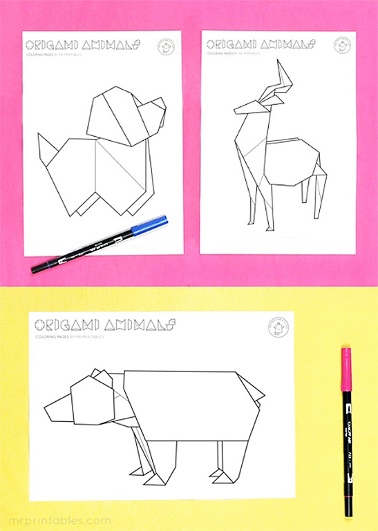 Origami Animal Coloring Pages Mr Printables