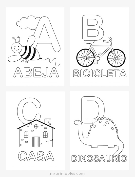 graphic relating to Spanish Alphabet Printable referred to as Spanish Alphabet Coloring Webpages - Mr Printables