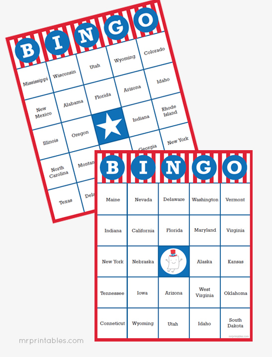 united states of bingo mr printables