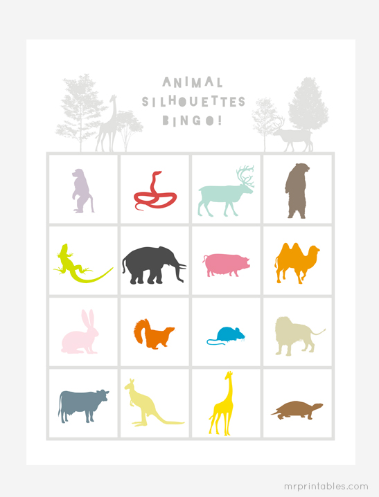 photo regarding Free Printable Silhouettes identified as Animal Silhouettes Bingo Playing cards - Mr Printables