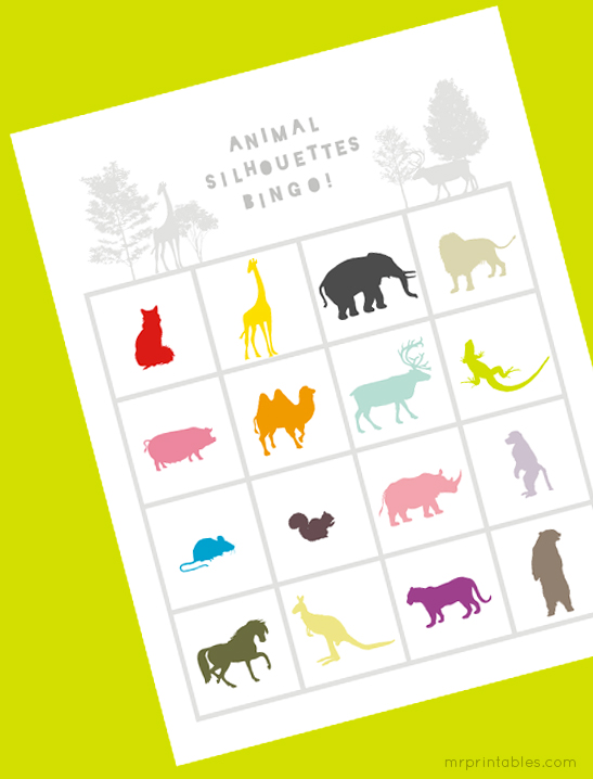 photo relating to Animal Bingo Printable identify Animal Silhouettes Bingo Playing cards - Mr Printables