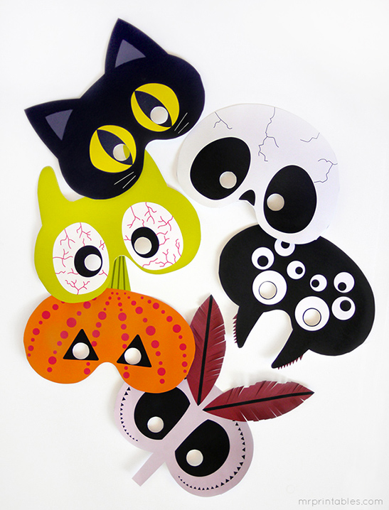 graphic relating to Halloween Crafts for Kids+free Printable named Printable Halloween Masks - Mr Printables