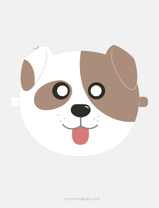 Dog mask printable for Dog mask template for kids