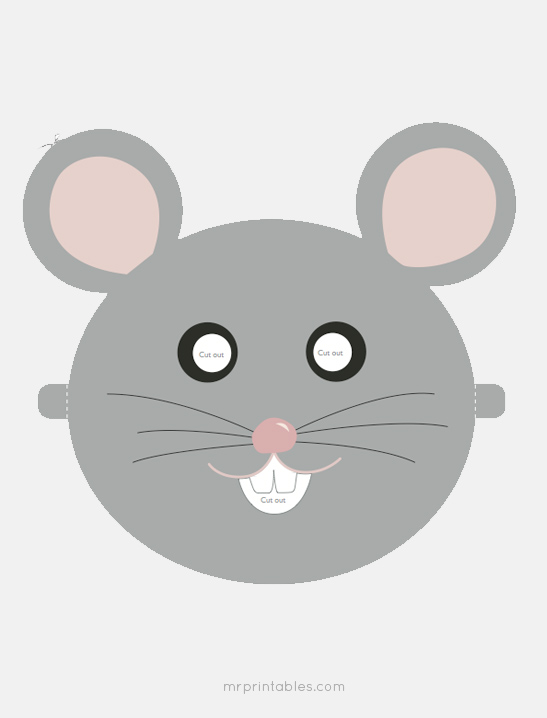 Printable animal masks mr printables for Printable mouse mask template