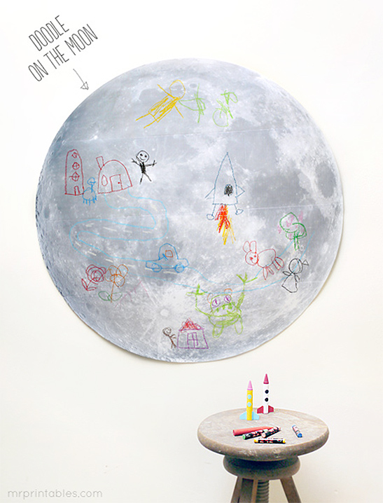 graphic about Moon Printable titled Doodle Upon The Moon! - Mr Printables