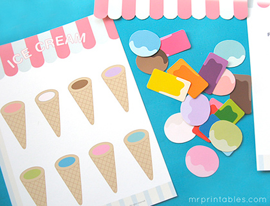 picture about Printable File Folder Game identify Ice Product Shade Matching Recreation - Mr Printables