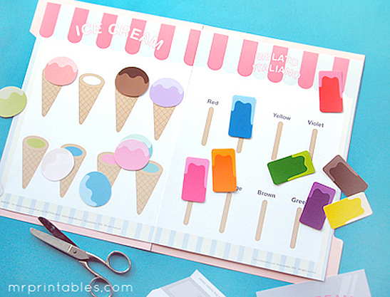 ice cream color matching game mr printables