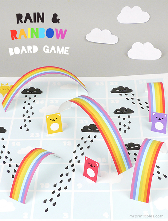 photograph about Board Game Printable known as Rain Rainbows Board Match - Mr Printables