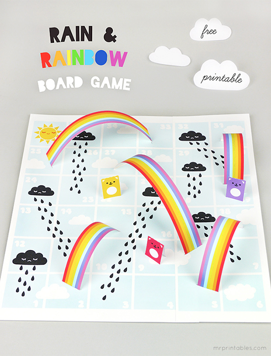 graphic regarding Chutes and Ladders Board Printable called Rain Rainbows Board Recreation - Mr Printables