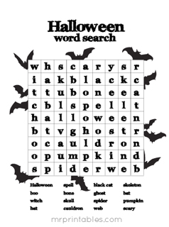 Playful image with regard to halloween word search printable