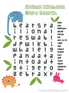 image relating to Animals Word Search Printable called Printable Term Glance Puzzles for Children - Mr Printables