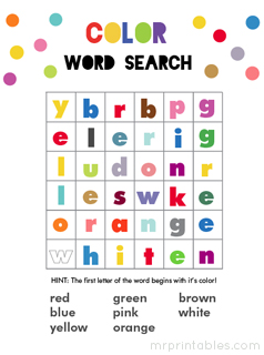 Colorful Word Puzzle Hint The First Letter Starts With Its Color Available In Both Lowercase And Uppercase Words