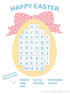 Trust image in easter word search printable