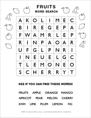 12 Fruit Names As Well The Word Fruits Are Hidden In Grid How About Using It At Table When You Try To Encourage Children Eat More