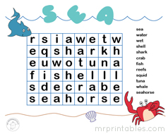 Find All 12 Words About The Sea And Creatures