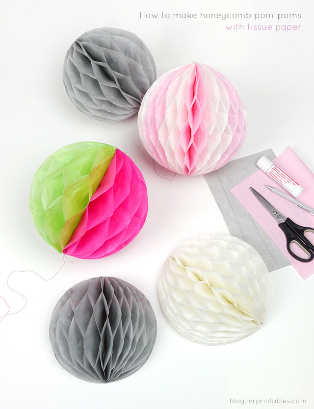 DIY How to make honeycomb pom-poms from tissue paper