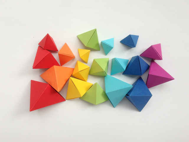 DIY origami rainbow color sorting