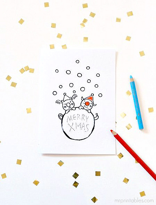 christmas cards to color in mr printables - Printable Coloring Christmas Pictures