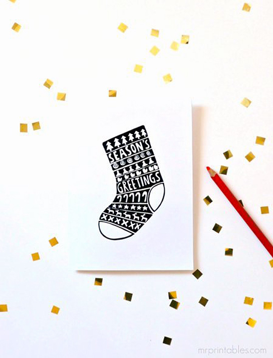 Christmas Cards to Color in - Mr Printables