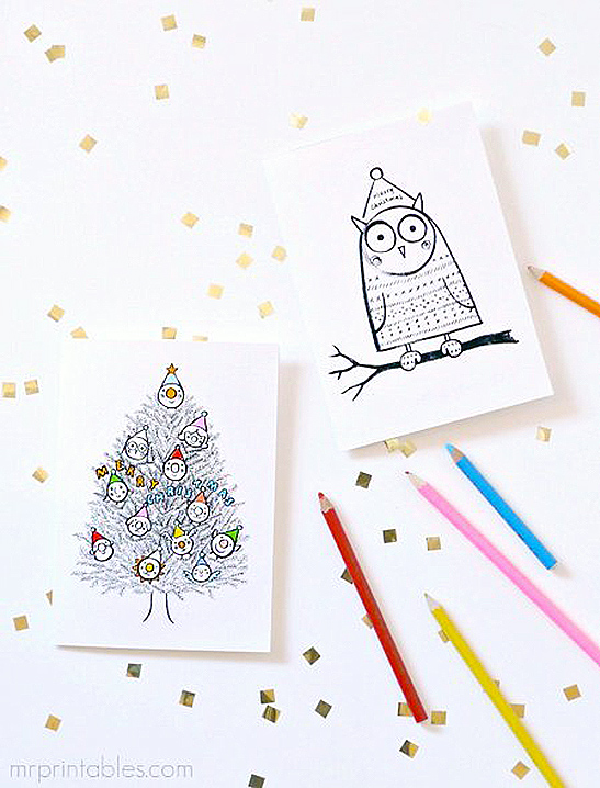 Printable Christmas Cards To Color.Christmas Cards To Color In Mr Printables