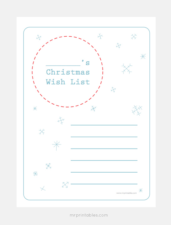 Christmas Wish List Templates Mr Printables – Free Printable Christmas Wish List Template