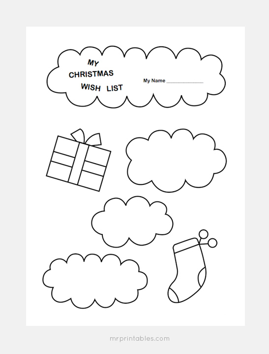 graphic regarding Printable Wish Lists called Xmas Motivation Record Templates - Mr Printables