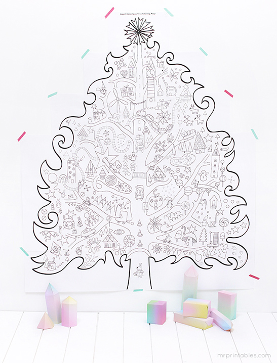 giant christmas coloring tree