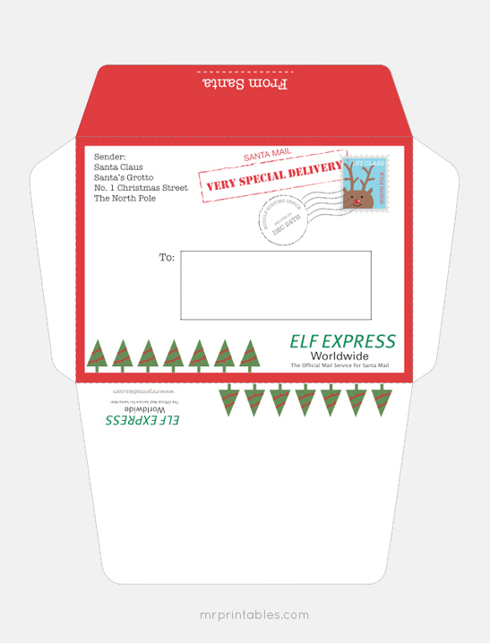 photo regarding Printable Santa Envelopes identify Letter versus Santa - Mr Printables
