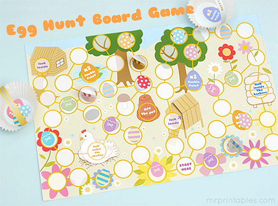 picture about Printable Board Game titled Easter Egg Hunt Board Activity - Mr Printables