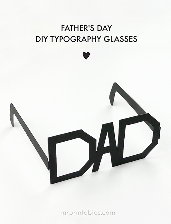 photo about Printable Fathers Day Craft named Fathers Working day Typography Gles - Mr Printables