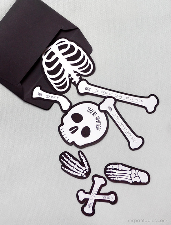 image regarding Skeleton Stencil Printable known as Bag OBones Halloween Social gathering Invitations - Mr Printables