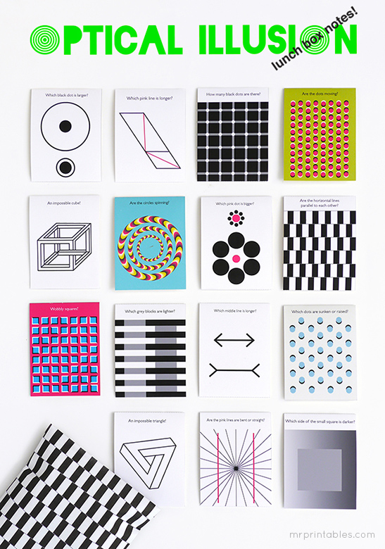 Optical Illusion Lunch Box Notes Mr Printables