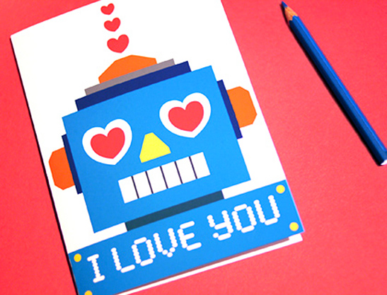 photo relating to Printable Love Cards known as Robotic Delight in Valentine Playing cards - Mr Printables