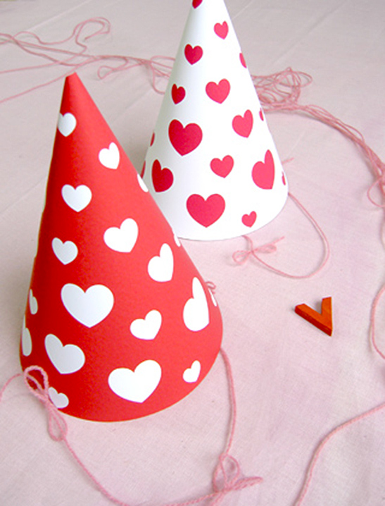 valentine hearts party hats mr printables