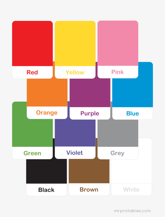 graphic about Colors Flashcards Printable named Printable Shade Flash Playing cards for Preschool Studying - Mr