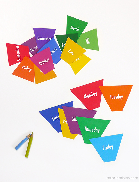 graphic about Printable Months of the Year for Preschool identified as Times Weeks Flash Playing cards - Mr Printables