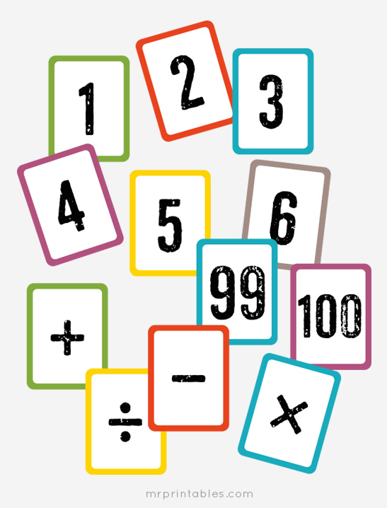 numbers 0 to 100 math cards