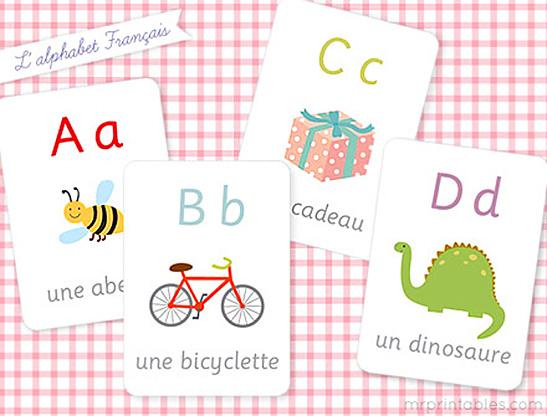 french alphabet flash cards mr printables. Black Bedroom Furniture Sets. Home Design Ideas