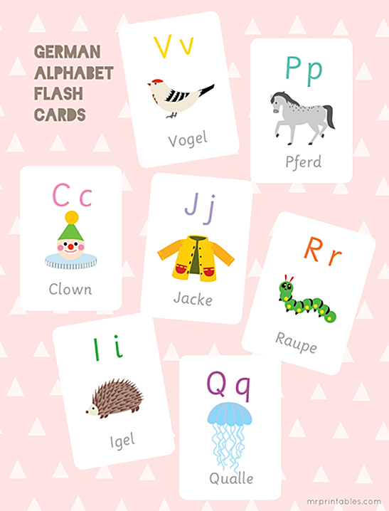 German Alphabet Flash Cards - Mr Printables