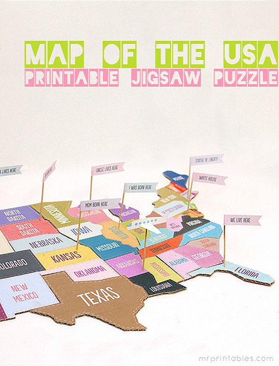 Map Of The USA Jigsaw Puzzle Mr Printables - Us map printables