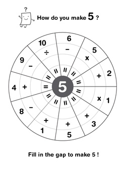 Printable Math Worksheets  Mr Printables Fill In The Gap To Make Numbers  To  Add Subtract Divide Or Multiply  Different Numbers When You Finish Color The Circle And Show Off