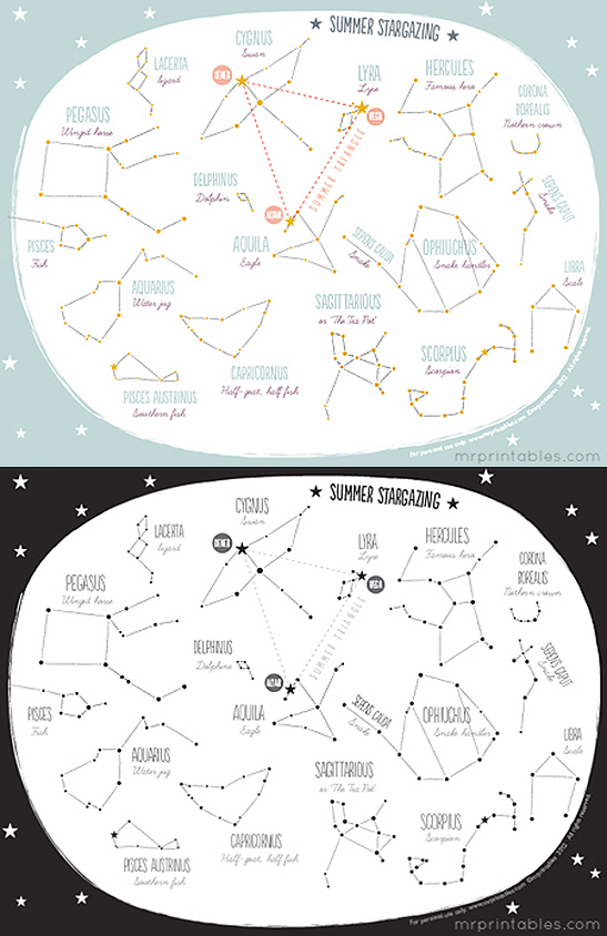photo regarding Constellation Printable identified as Printable Summer time Constellation Map - Mr Printables