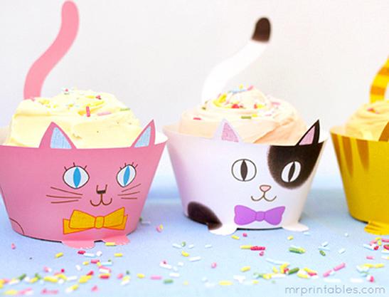 picture regarding Free Printable Cupcake Wrappers named Cup Cats! Cupcake Wrappers - Mr Printables