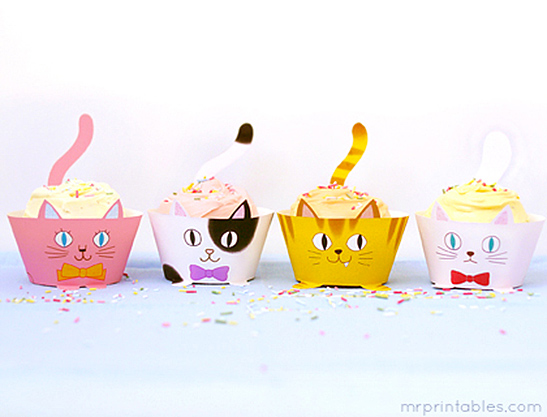 photograph about Printable Cupcake Wrappers called Cup Cats! Cupcake Wrappers - Mr Printables