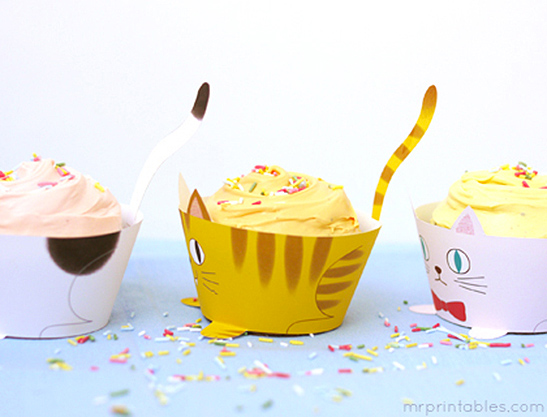 graphic regarding Printable Cupcake known as Cup Cats! Cupcake Wrappers - Mr Printables