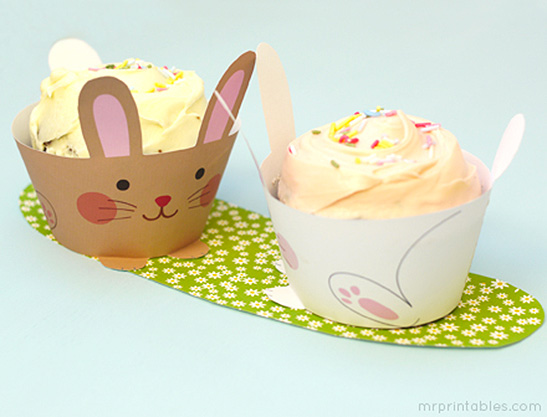 image relating to Printable Cupcake Wrappers named Cup Bunnies Cupcake Wrappers - Mr Printables
