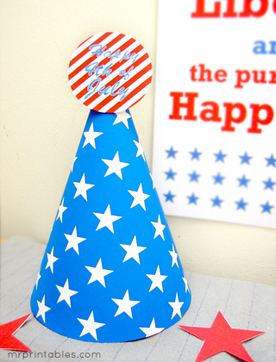 4th of July Party Hats - Mr Printables