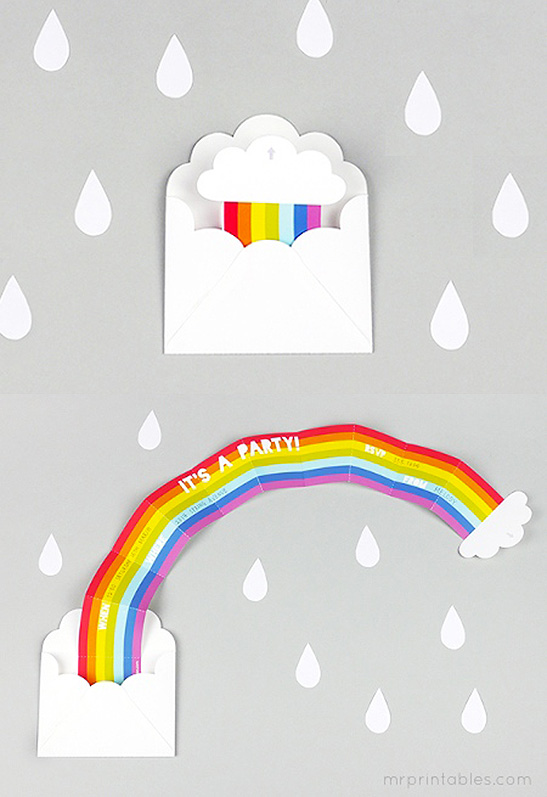 photo regarding Printable Party Invitations known as Ponder Rainbow Celebration Invitation - Mr Printables