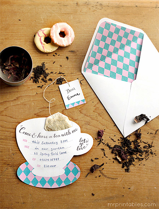 Printable Tea Party Invitations Mr Printables – Invitation for Tea Party